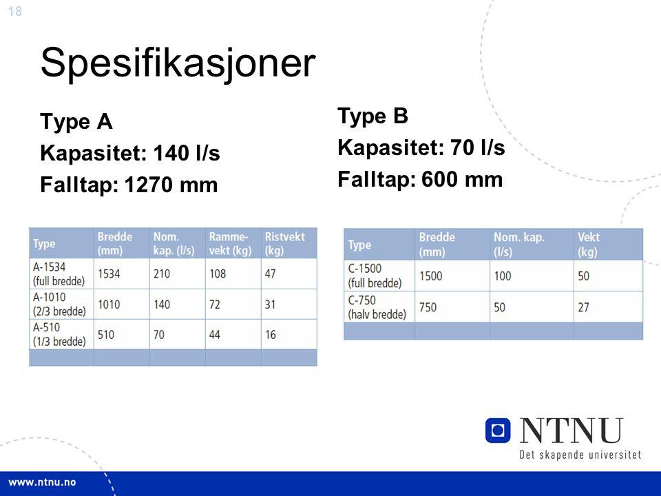 Spesifikasjoner Type B Kapasitet: 70 l/s Falltap: 600 mm Type A