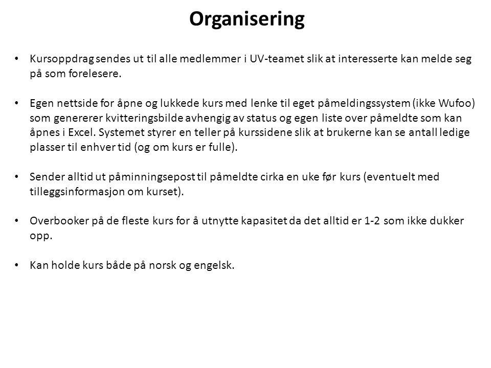 Organisering Kursoppdrag sendes ut til alle medlemmer i UV-teamet slik at interesserte kan melde seg på som forelesere.