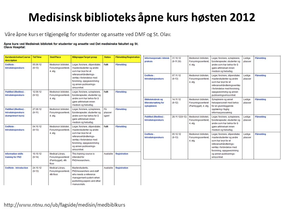 Medisinsk biblioteks åpne kurs høsten 2012