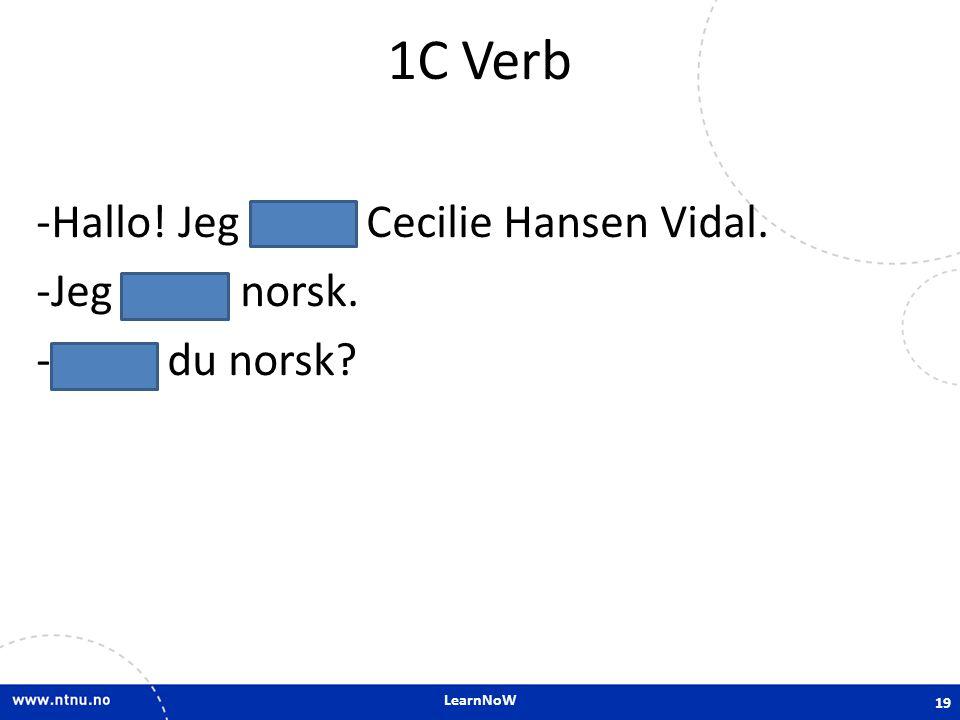 1C Verb Hallo! Jeg heter Cecilie Hansen Vidal. Jeg er norsk.