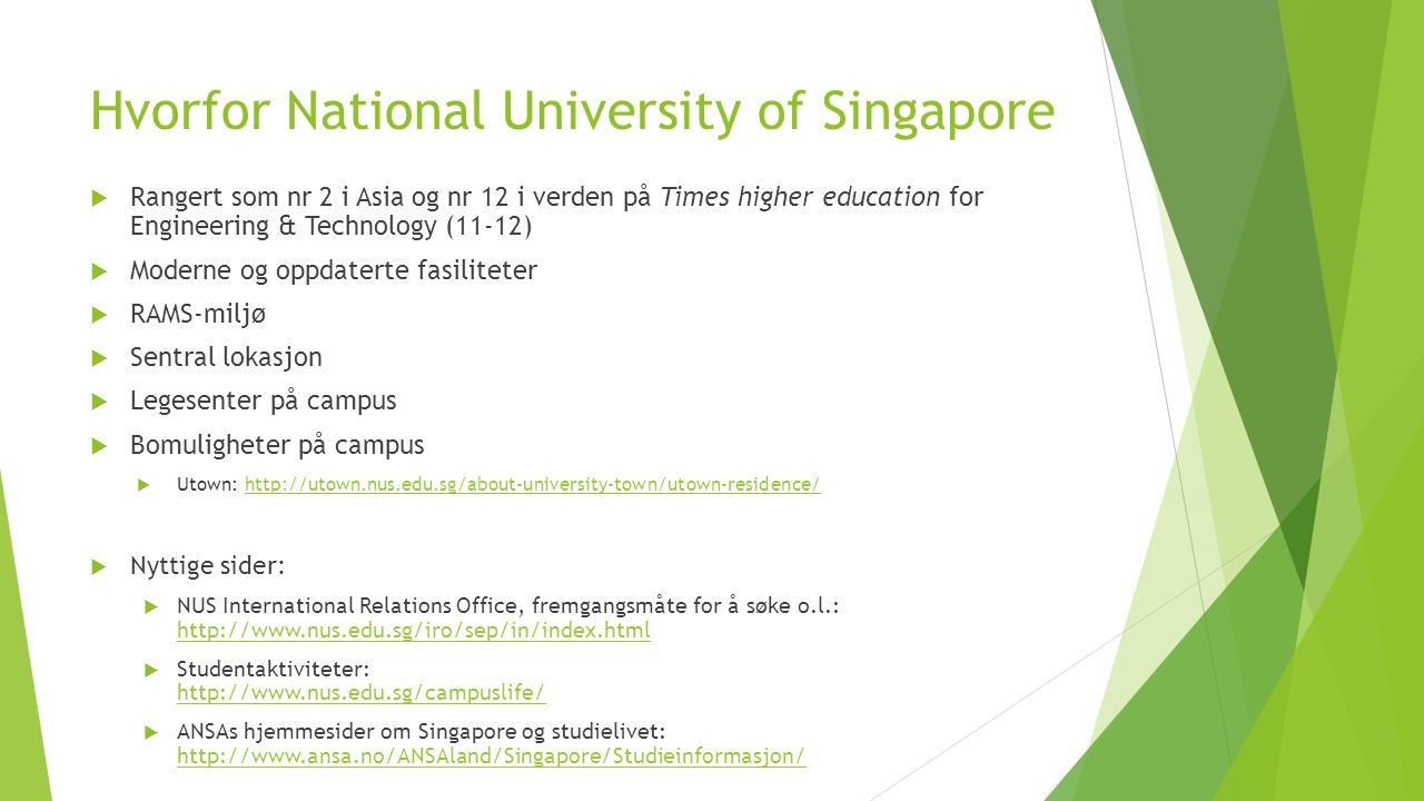 Hvorfor National University of Singapore