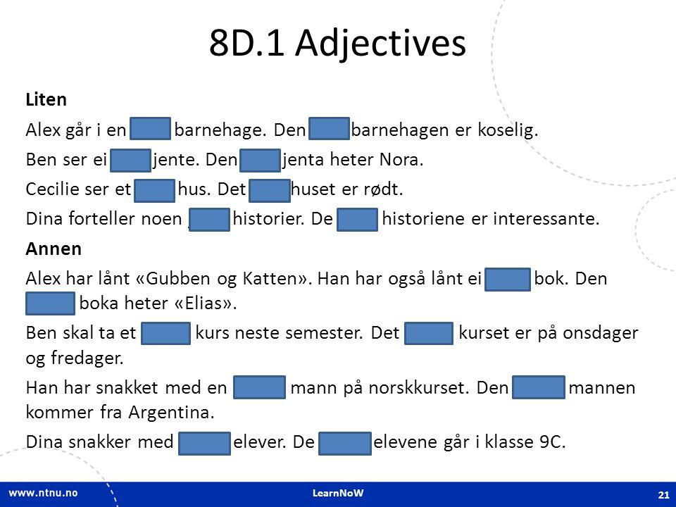8D.1 Adjectives
