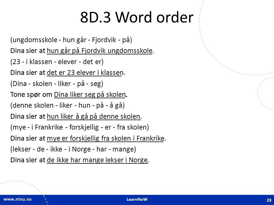 8D.3 Word order