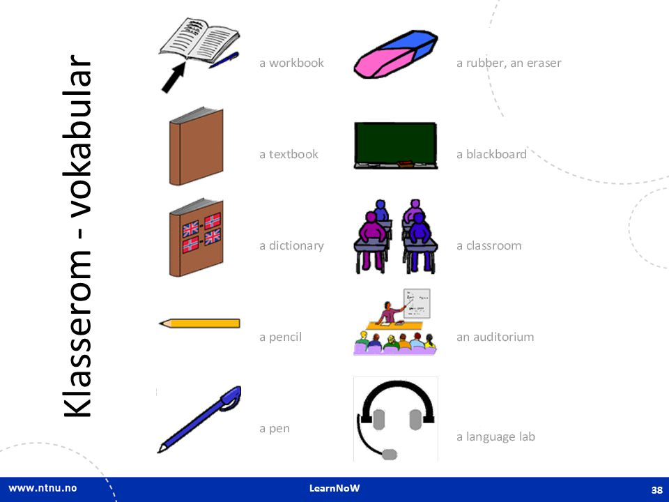 Klasserom - vokabular