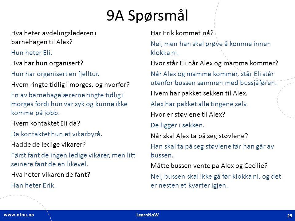 9A Spørsmål