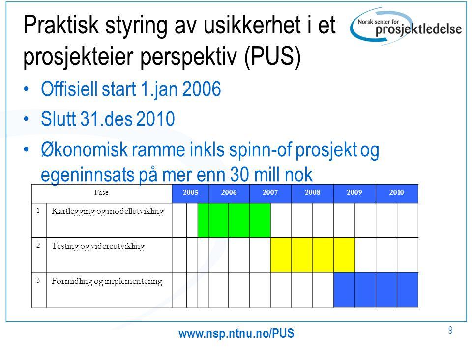 Praktisk styring av usikkerhet i et prosjekteier perspektiv (PUS)