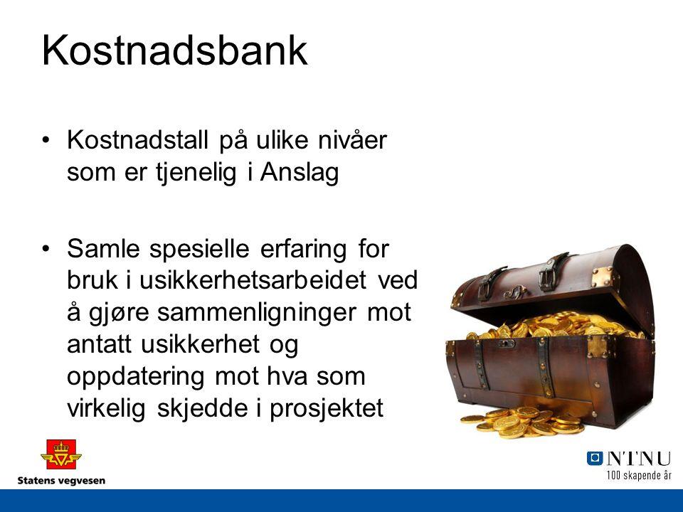 Kostnadsbank Kostnadstall på ulike nivåer som er tjenelig i Anslag