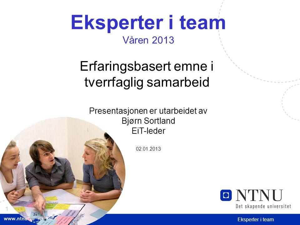 Eksperter i team Erfaringsbasert emne i tverrfaglig samarbeid