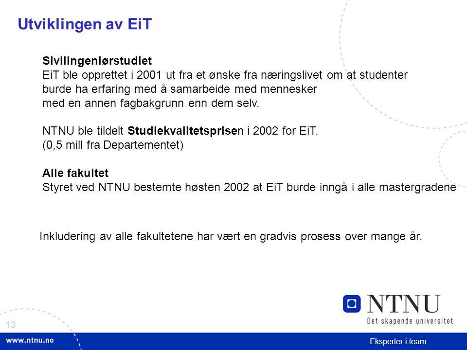 Utviklingen av EiT Sivilingeniørstudiet