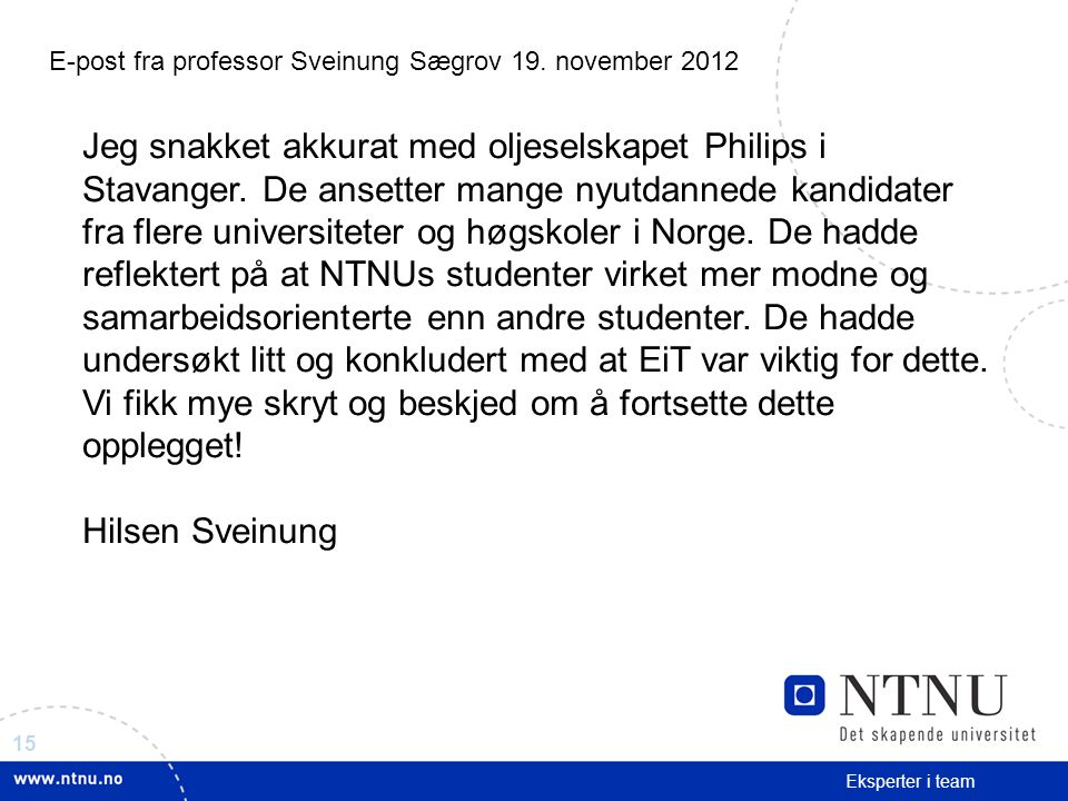 E-post fra professor Sveinung Sægrov 19. november 2012