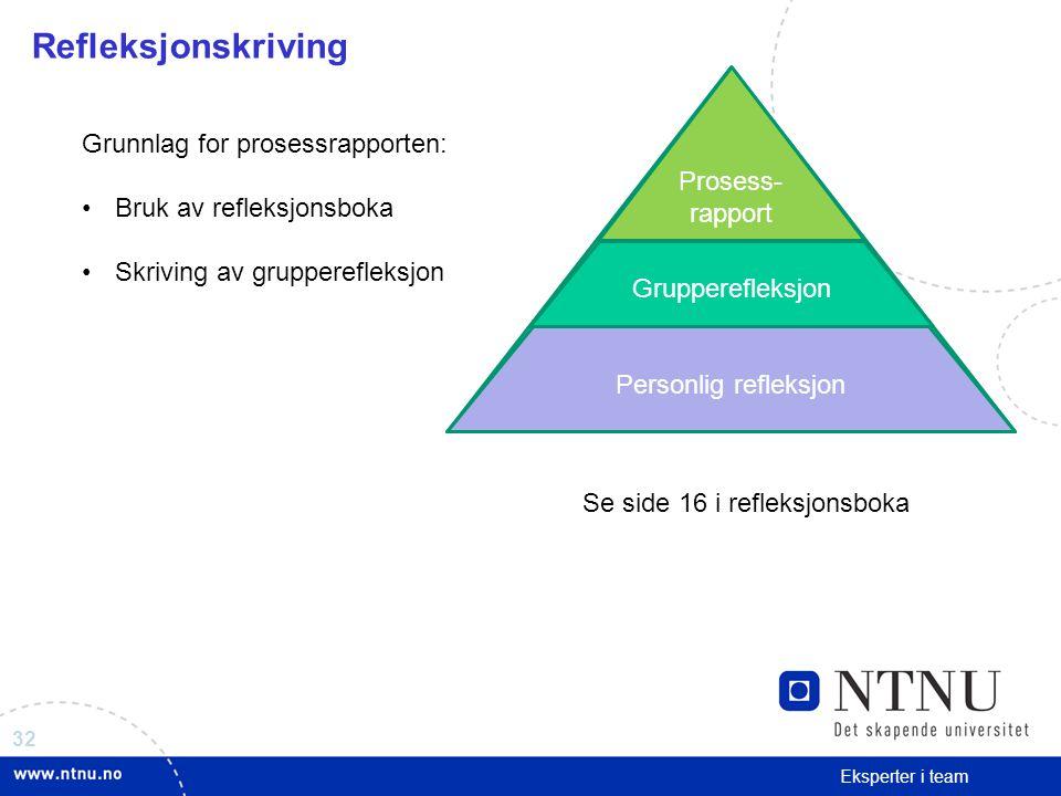 Refleksjonskriving Prosess-rapport Grunnlag for prosessrapporten: