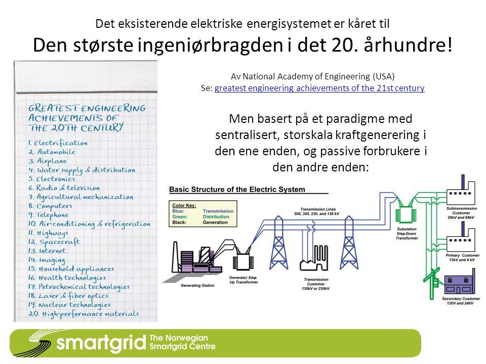 Det eksisterende elektriske energisystemet er kåret til Den største ingeniørbragden i det 20. århundre!