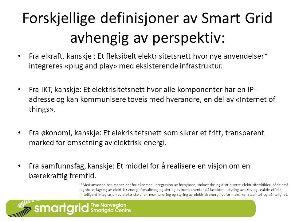 Forskjellige definisjoner av Smart Grid avhengig av perspektiv: