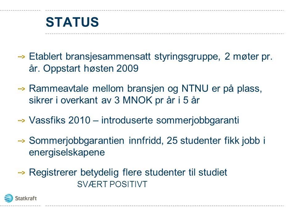 Status Etablert bransjesammensatt styringsgruppe, 2 møter pr. år. Oppstart høsten 2009.
