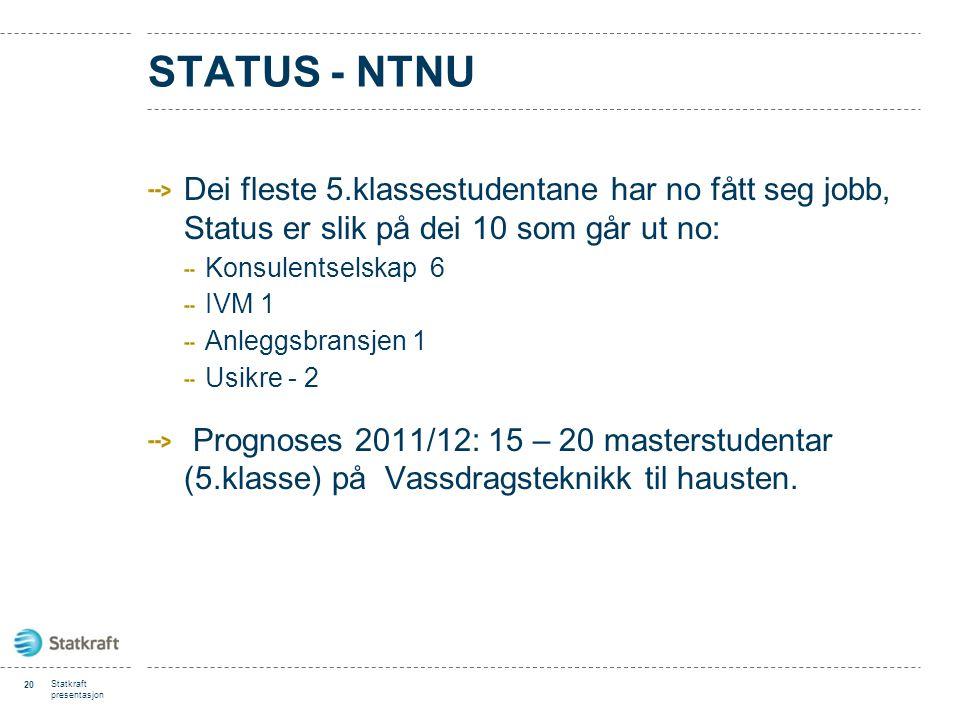 Status - NTNU Dei fleste 5.klassestudentane har no fått seg jobb, Status er slik på dei 10 som går ut no: