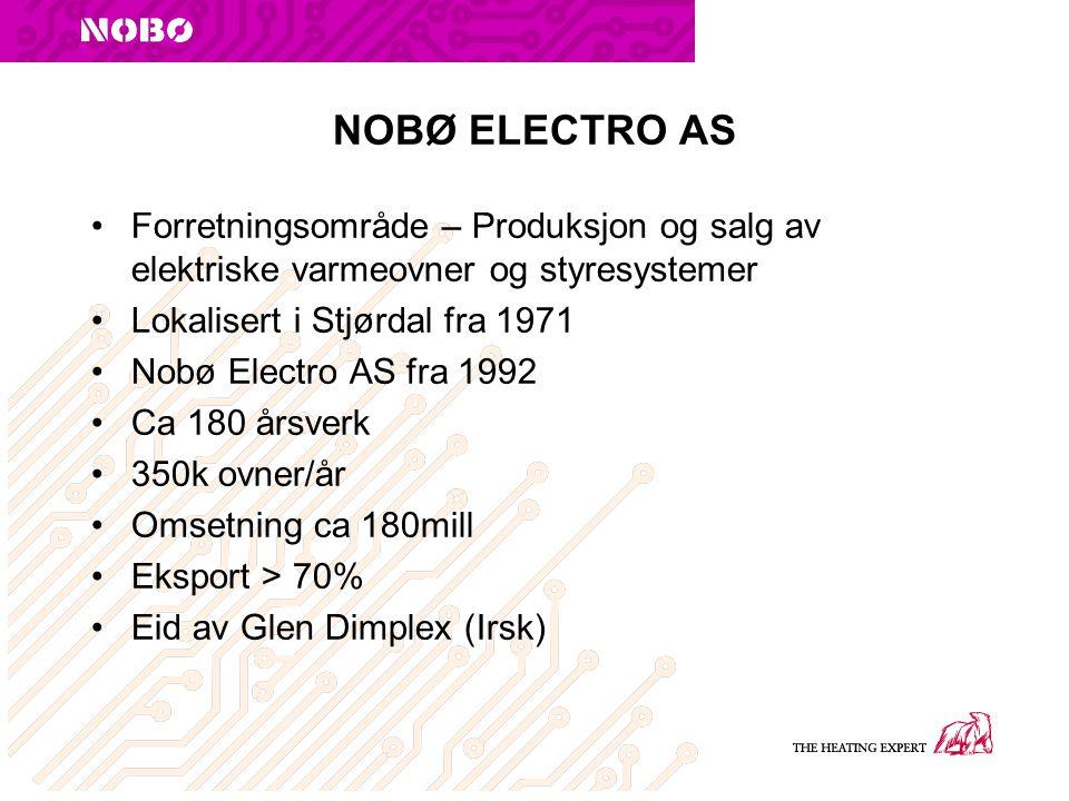 NOBØ ELECTRO AS Forretningsområde – Produksjon og salg av elektriske varmeovner og styresystemer. Lokalisert i Stjørdal fra 1971.