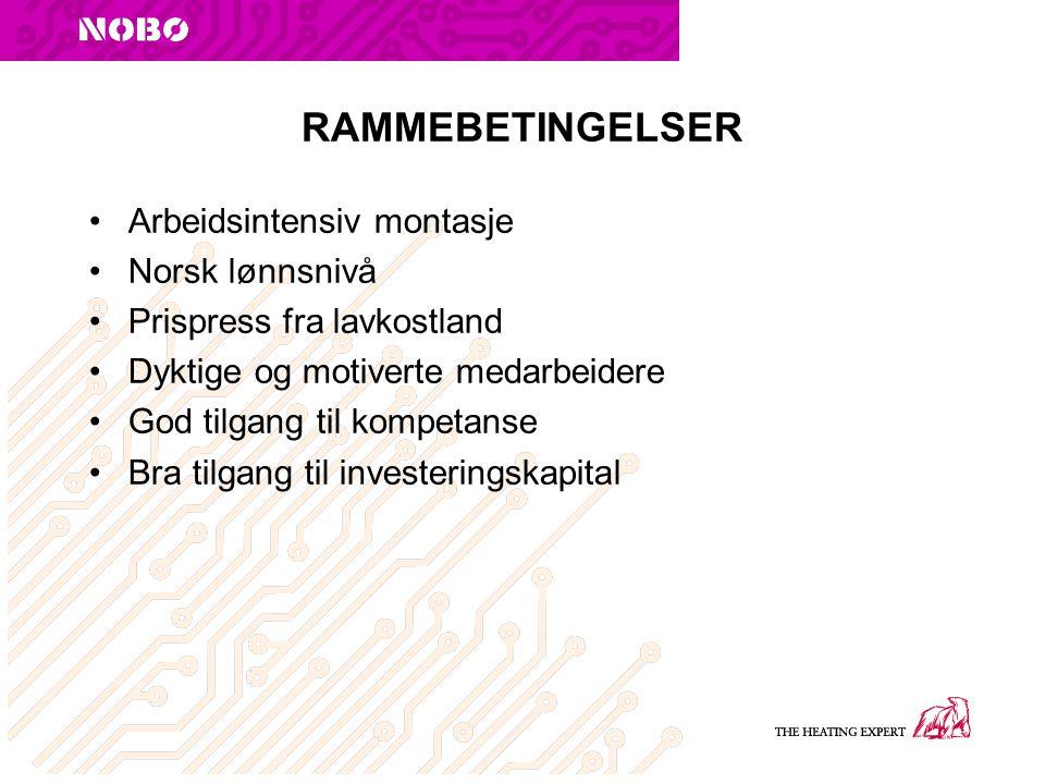 RAMMEBETINGELSER Arbeidsintensiv montasje Norsk lønnsnivå