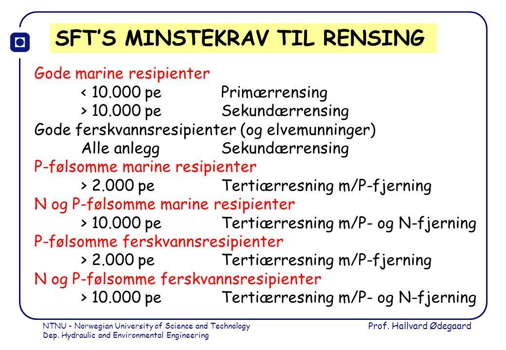 SFT'S MINSTEKRAV TIL RENSING