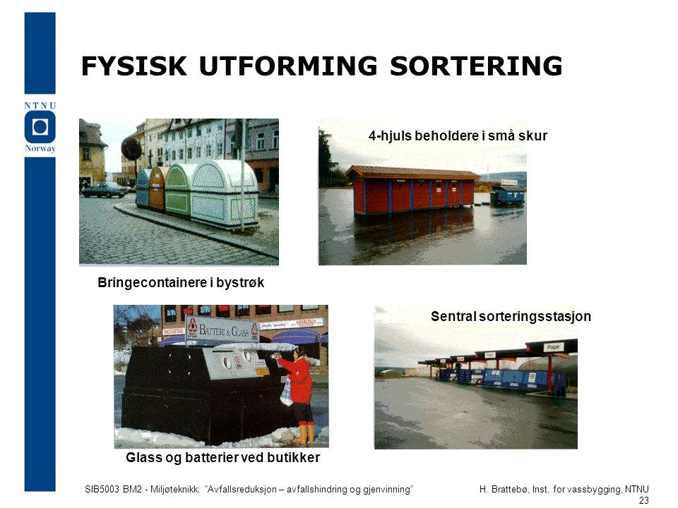 FYSISK UTFORMING SORTERING