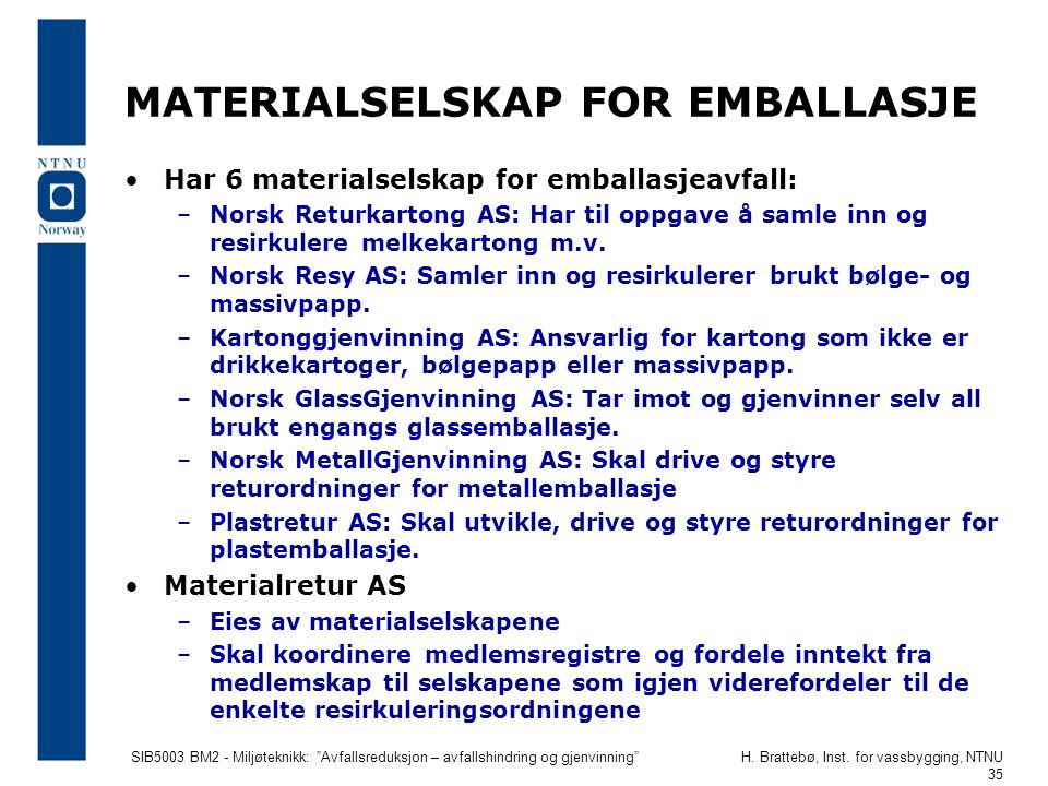 MATERIALSELSKAP FOR EMBALLASJE