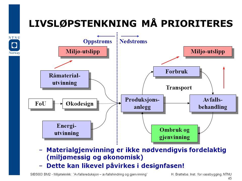 LIVSLØPSTENKNING MÅ PRIORITERES