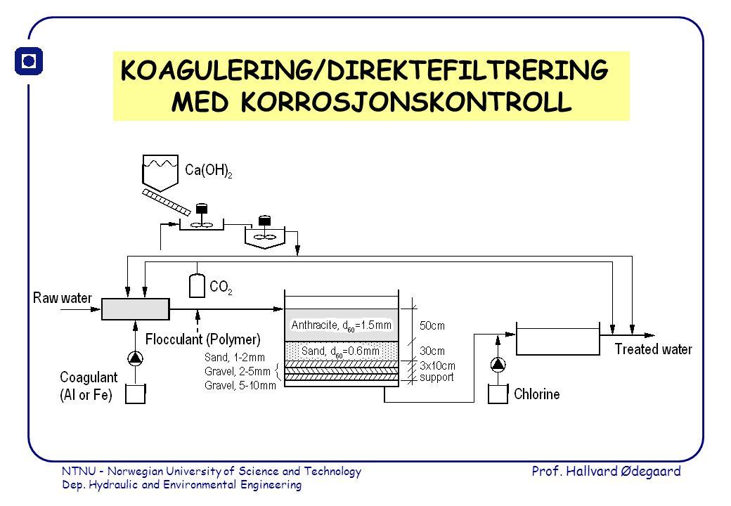 KOAGULERING/DIREKTEFILTRERING MED KORROSJONSKONTROLL