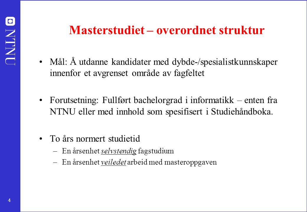 Masterstudiet – overordnet struktur