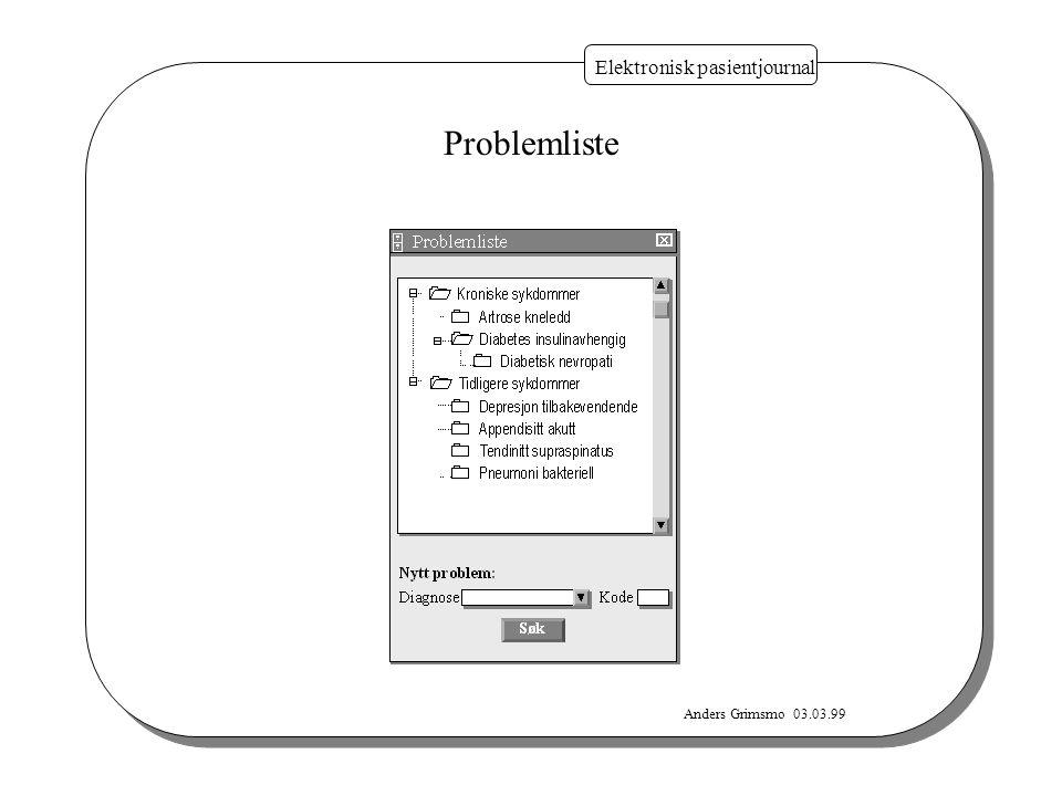 Anders Grimsmo 03.03.99 Elektronisk pasientjournal Problemliste
