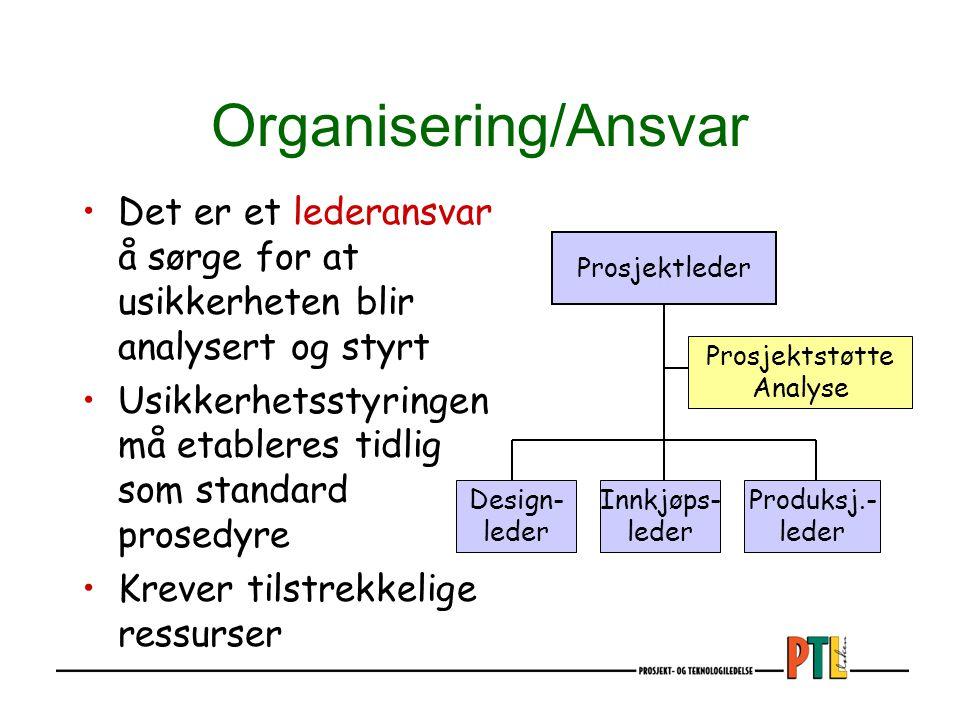 Organisering/Ansvar Det er et lederansvar å sørge for at usikkerheten blir analysert og styrt.