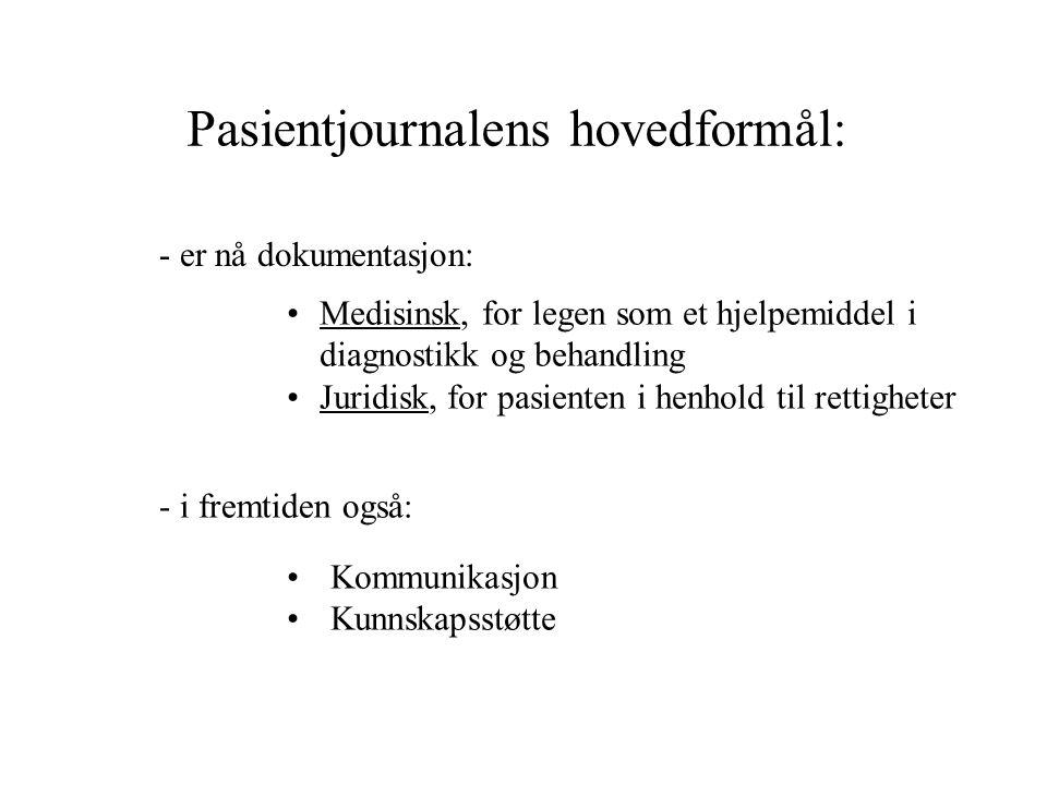 Pasientjournalens hovedformål: