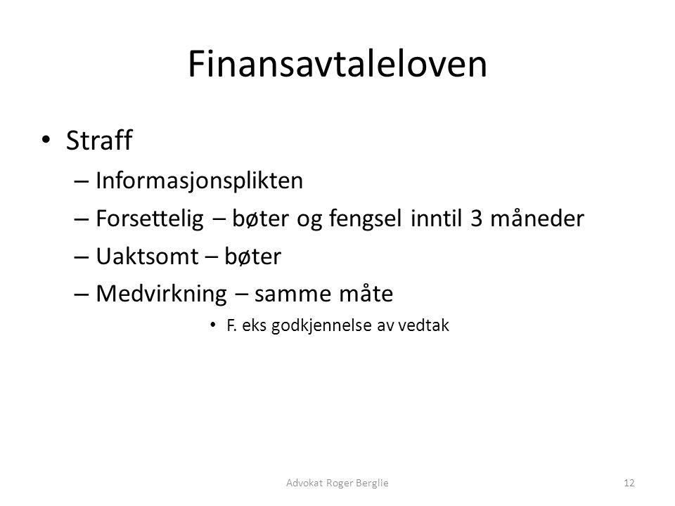 Finansavtaleloven Straff Informasjonsplikten
