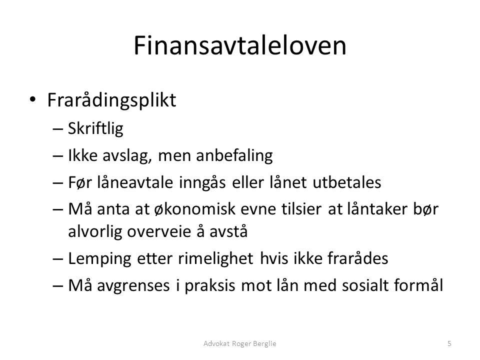 Finansavtaleloven Frarådingsplikt Skriftlig