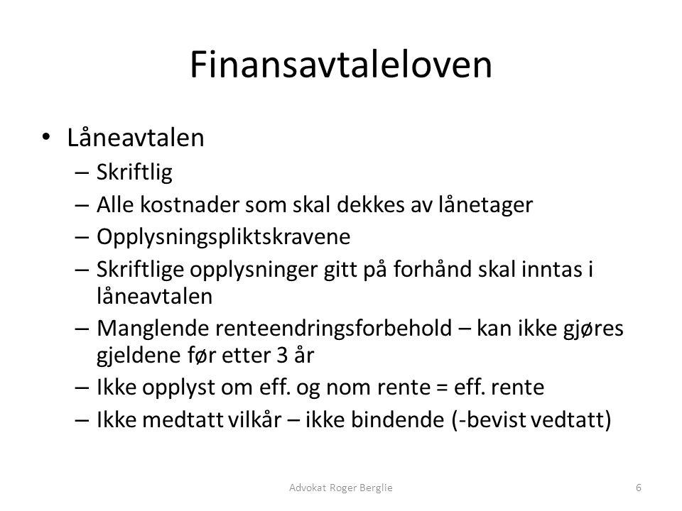 Finansavtaleloven Låneavtalen Skriftlig