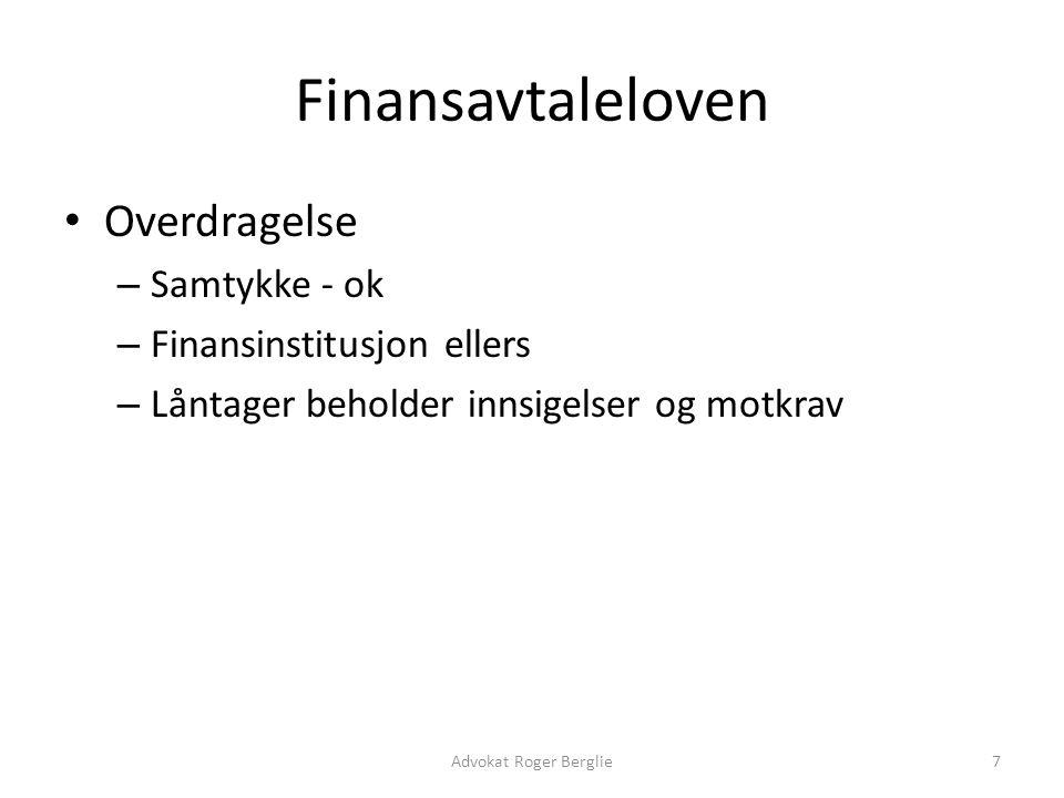 Finansavtaleloven Overdragelse Samtykke - ok Finansinstitusjon ellers
