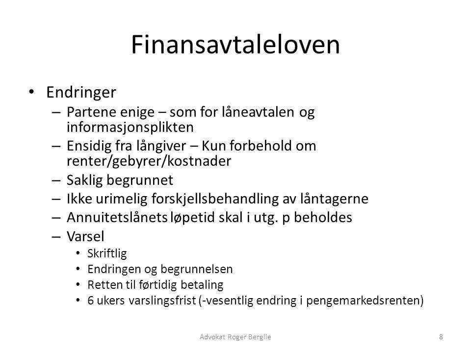 Finansavtaleloven Endringer
