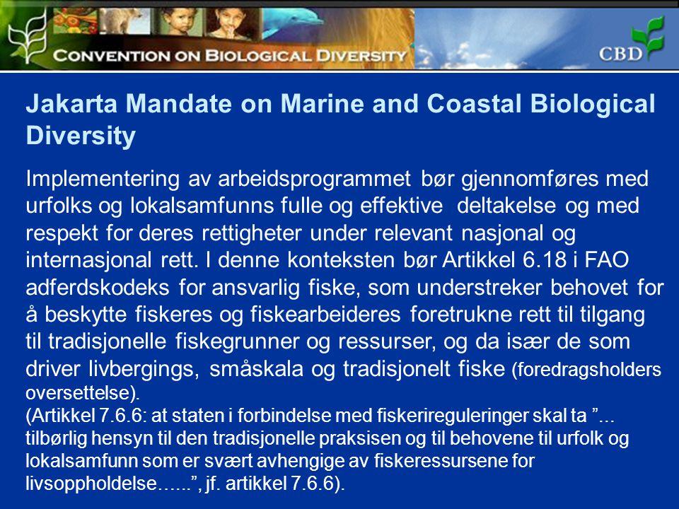 Jakarta Mandate on Marine and Coastal Biological Diversity