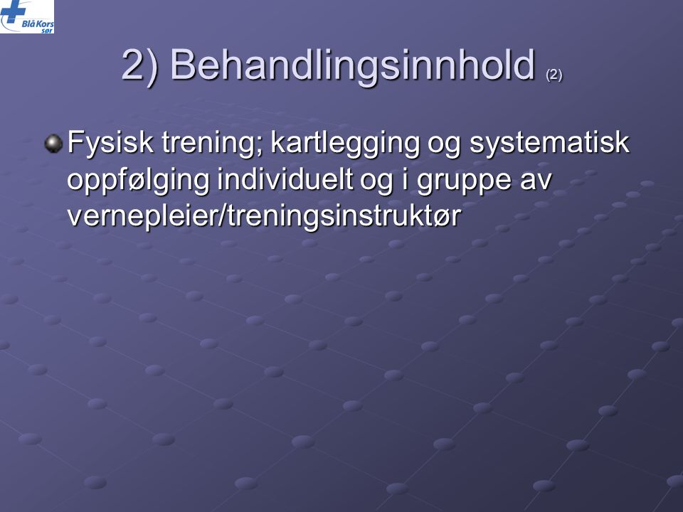 2) Behandlingsinnhold (2)
