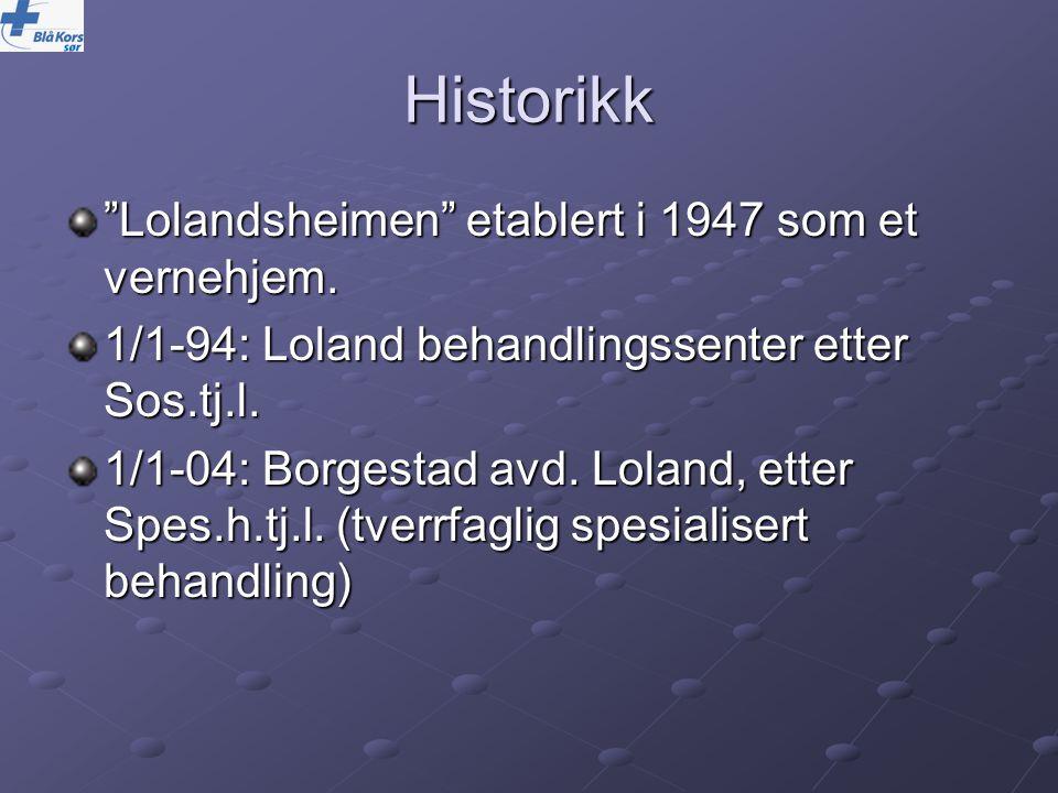 Historikk Lolandsheimen etablert i 1947 som et vernehjem.