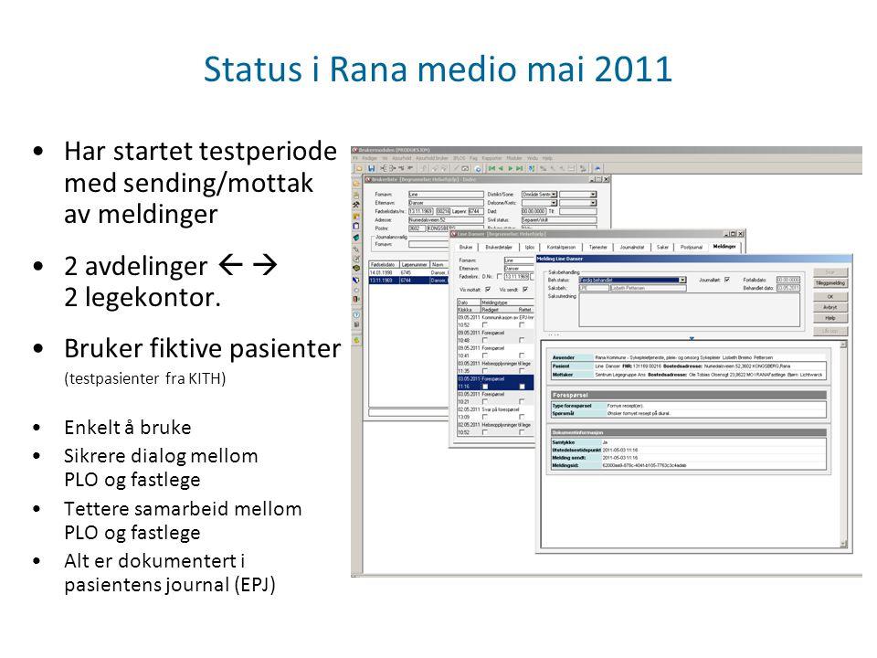 Status i Rana medio mai 2011 Har startet testperiode med sending/mottak av meldinger. 2 avdelinger   2 legekontor.