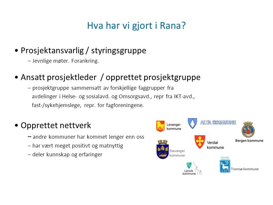 Hva har vi gjort i Rana Prosjektansvarlig / styringsgruppe