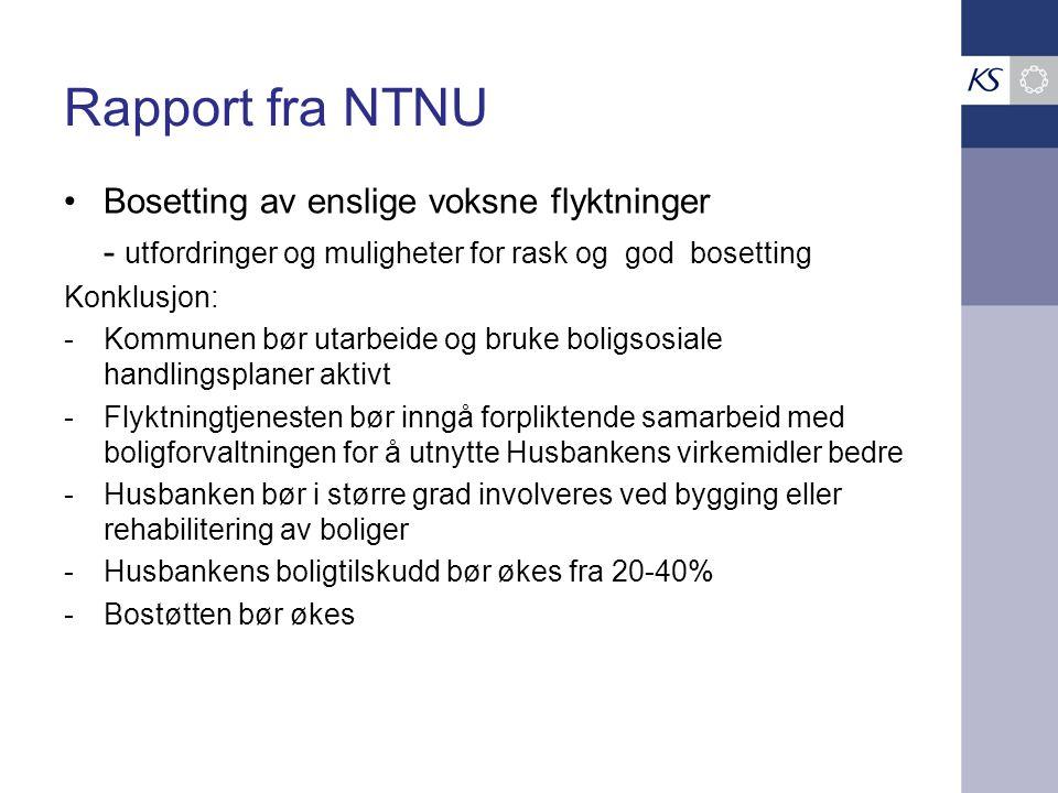 Rapport fra NTNU Bosetting av enslige voksne flyktninger