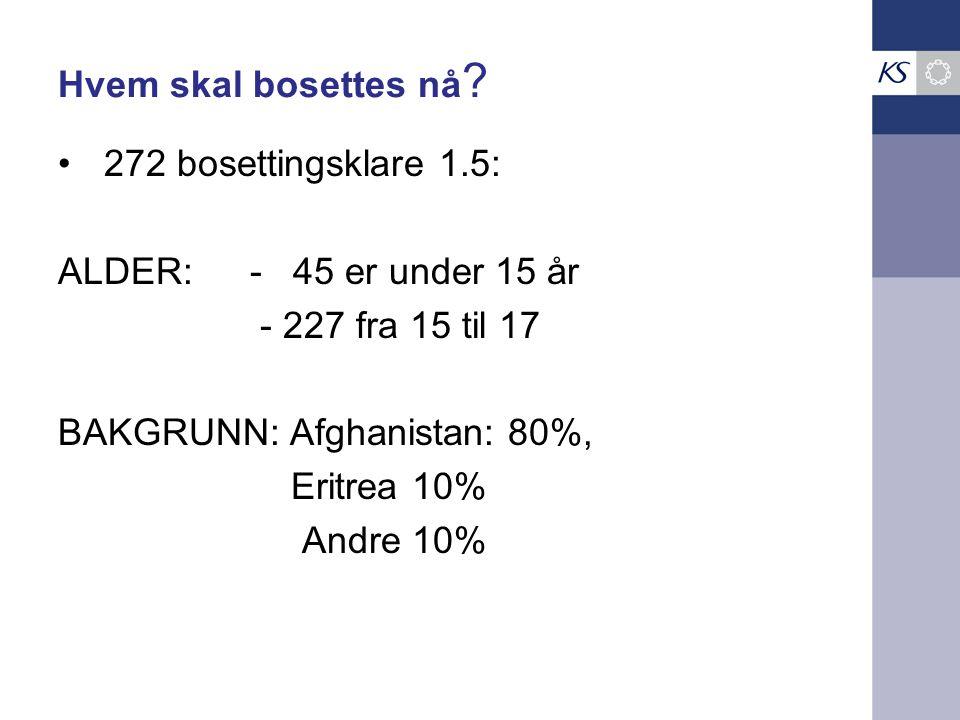 Hvem skal bosettes nå 272 bosettingsklare 1.5: ALDER: - 45 er under 15 år. - 227 fra 15 til 17.