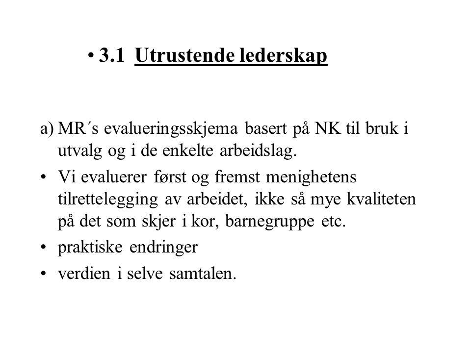 3.1 Utrustende lederskap a) MR´s evalueringsskjema basert på NK til bruk i utvalg og i de enkelte arbeidslag.
