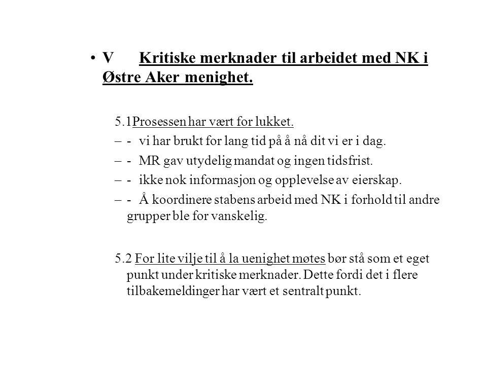 V Kritiske merknader til arbeidet med NK i Østre Aker menighet.