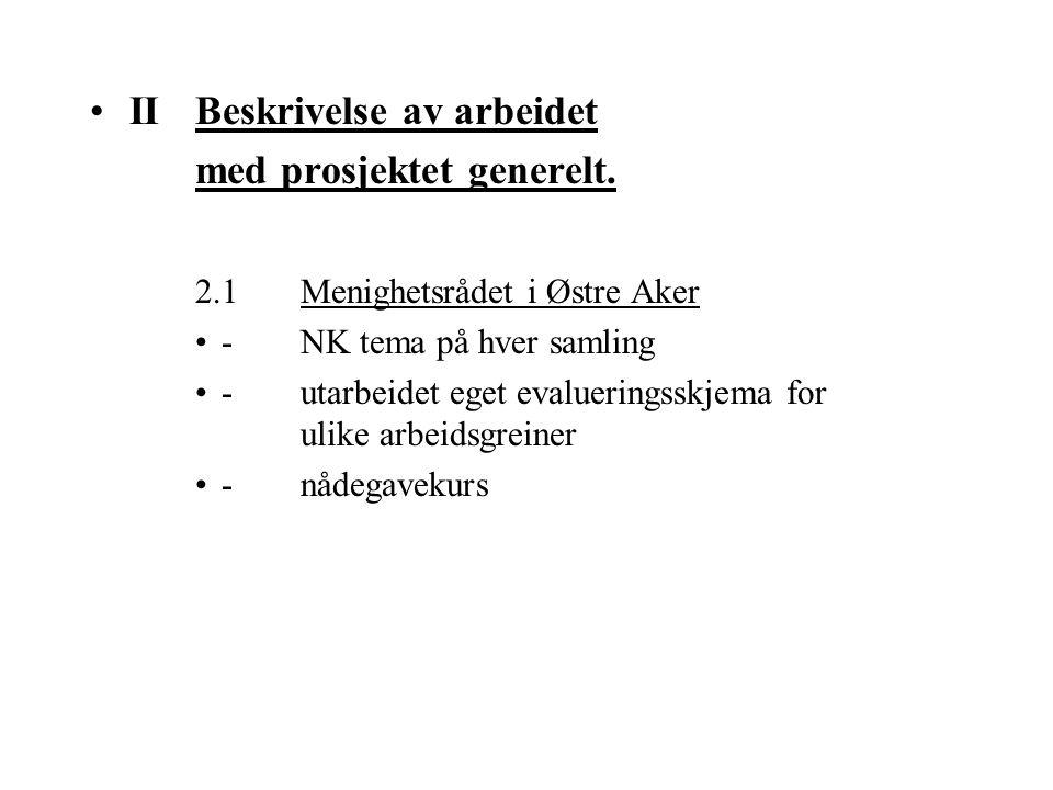 II Beskrivelse av arbeidet med prosjektet generelt.