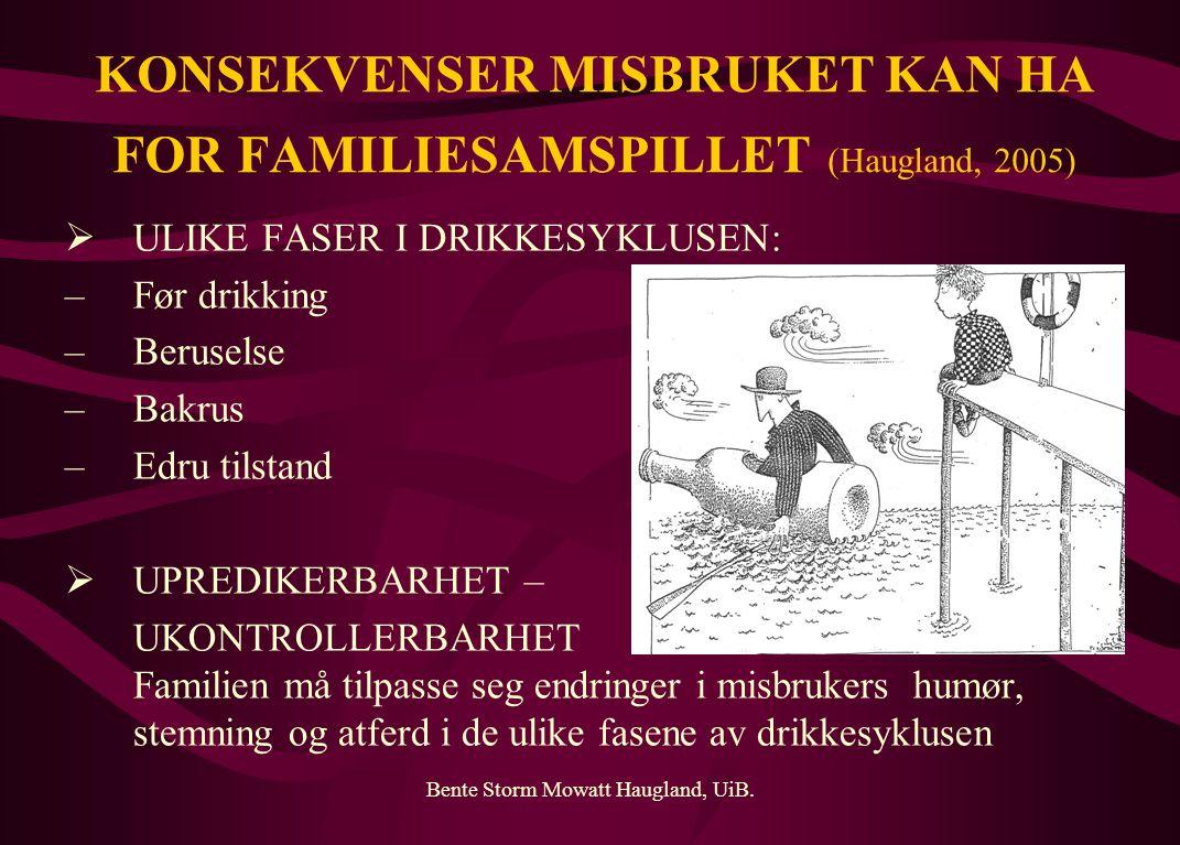 KONSEKVENSER MISBRUKET KAN HA FOR FAMILIESAMSPILLET (Haugland, 2005)