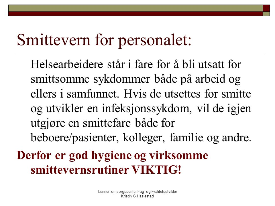 Smittevern for personalet: