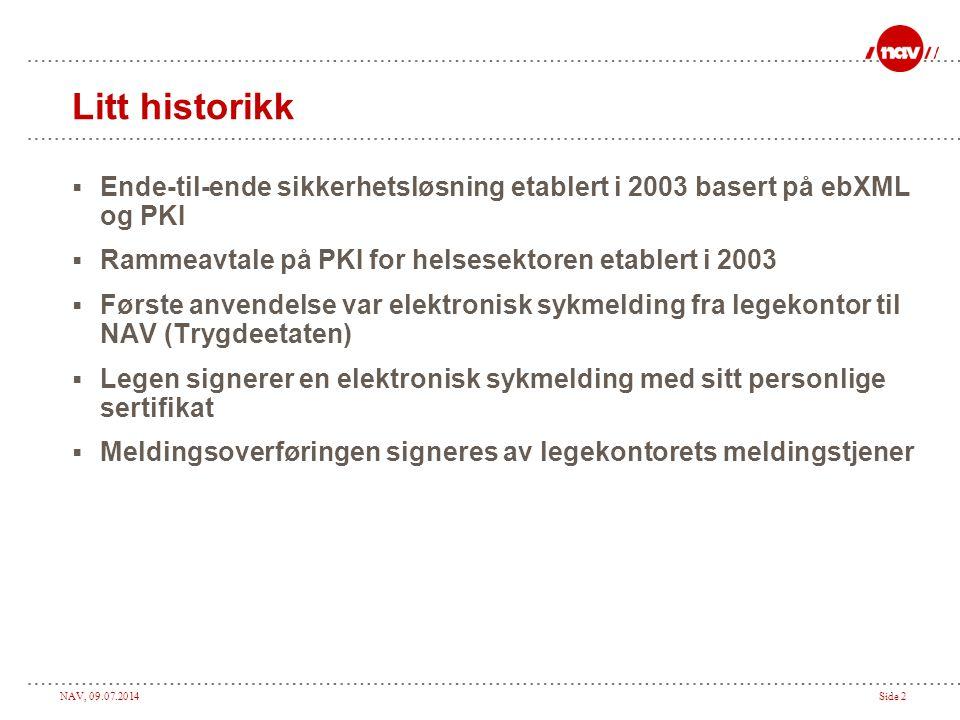 Litt historikk Ende-til-ende sikkerhetsløsning etablert i 2003 basert på ebXML og PKI. Rammeavtale på PKI for helsesektoren etablert i 2003.