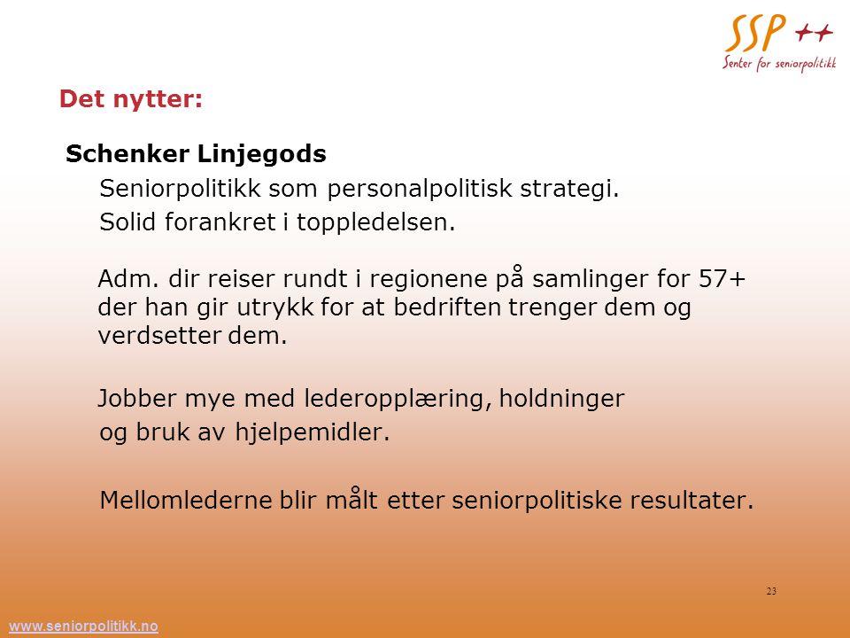 Det nytter: Schenker Linjegods. Seniorpolitikk som personalpolitisk strategi.