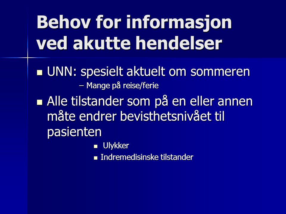 Behov for informasjon ved akutte hendelser